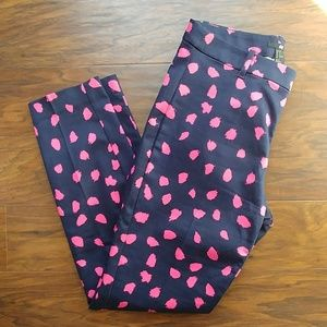 H&M navy/pink tailored stretch ankle pant